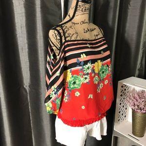 Tops - Open Shoulder Floral & Stripe Adjustable Strap Top